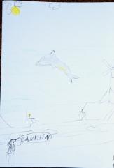 dessin de Nina sur son livre de bord, Jour 2