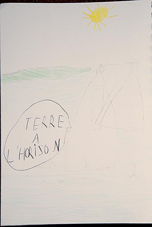 dessin de Nina sur son livre de bord, Jour 3