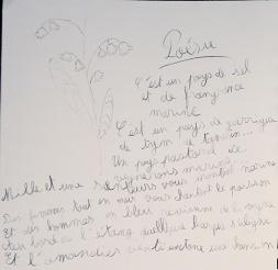 dessin de Nina sur son livre de bord, Jour 4, muguet et poème