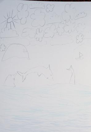 dessin de Nina sur son livre de bord, Jour 6