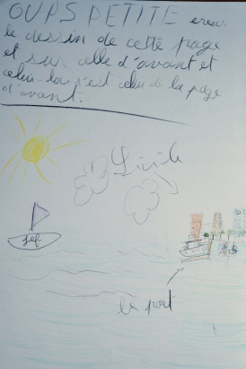 Dessin de Nina sur son livre de bord, Jour 8