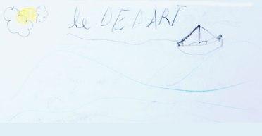 LE DEPART : Dessin de Nina au départ de Leucate
