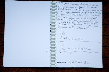 Photo du Livre de bord de Nina, 12ème jour de traversée