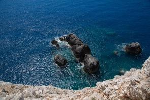 Vue du haut de la falaise du cap Leucade, Grèce, photo Serge Briez, Cap médiations 2014