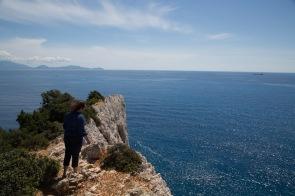 Vue de la falaise du cap Leucade, le point de la chute de Sappho, Grèce, photo Serge Briez 2014