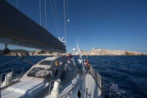 Le Cap Leucade, ile de Lafkadas en Grèce vue de thera explorer, photo Serge Briez, Cap médiations 2014