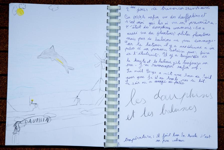 Photo du Livre de bord de Nina, 2ème jour de traversée