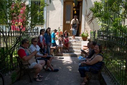Visite de la bibliothèque de Leucade, Lefkadas en Grèce, samedi 10 Mai 2014, Photo serge Briez, Cap médiations 2014