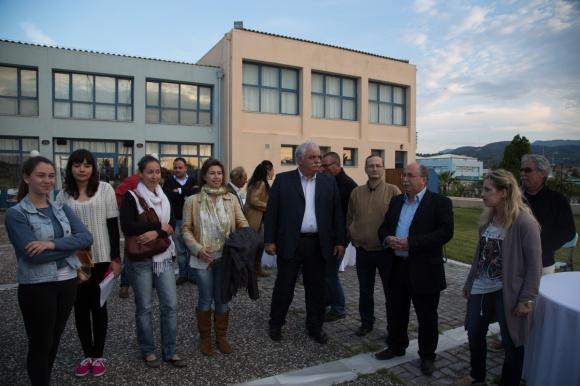 Accueil de l'odyssée Leucate- Leucade à l'arrivée au port de Lefkada, Leucade en Grèce, Photo Serge Briez, Cap médiations 2014