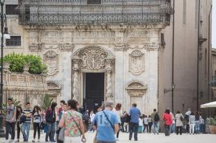 Partie basse de la façade de l'Eglise Santa Lucia alla Badia, photo Serge Briez, Cap médiations 2014