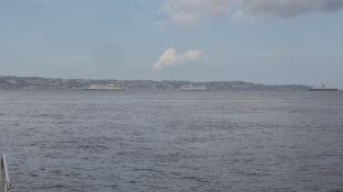 Détroit de Messine, circulation des ferrys, vue de Thera explorer, photo Serge Briez, cap médiations 2014