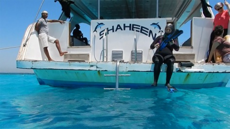 Agnès sur le Saheen 1 se prépare pour sa 1ère plongée avec les dauphins, Nager avec les dauphins, Hurghada, Mer Rouge Photo Serge Briez©capmediations2015